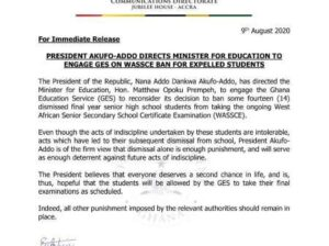 President Akufo-Addo, has directed the Minister of Education, Hon. Opoku Prempeh to engage the Ghana Education Services (GES) to reconsider the banned decision
