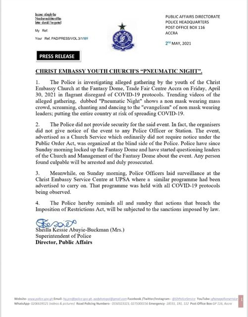 """Christ Embassy Youth Leaders to face Prosecution for unlawfully gathering at """"Pneumatic Night"""" in Ghana"""