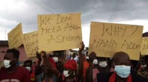 Angry NPP supporters protest