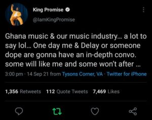 King Promise tweets about industry