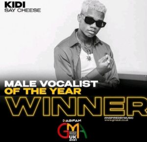 Kidi won the best male vocalist of the year with 'Say Cheese'